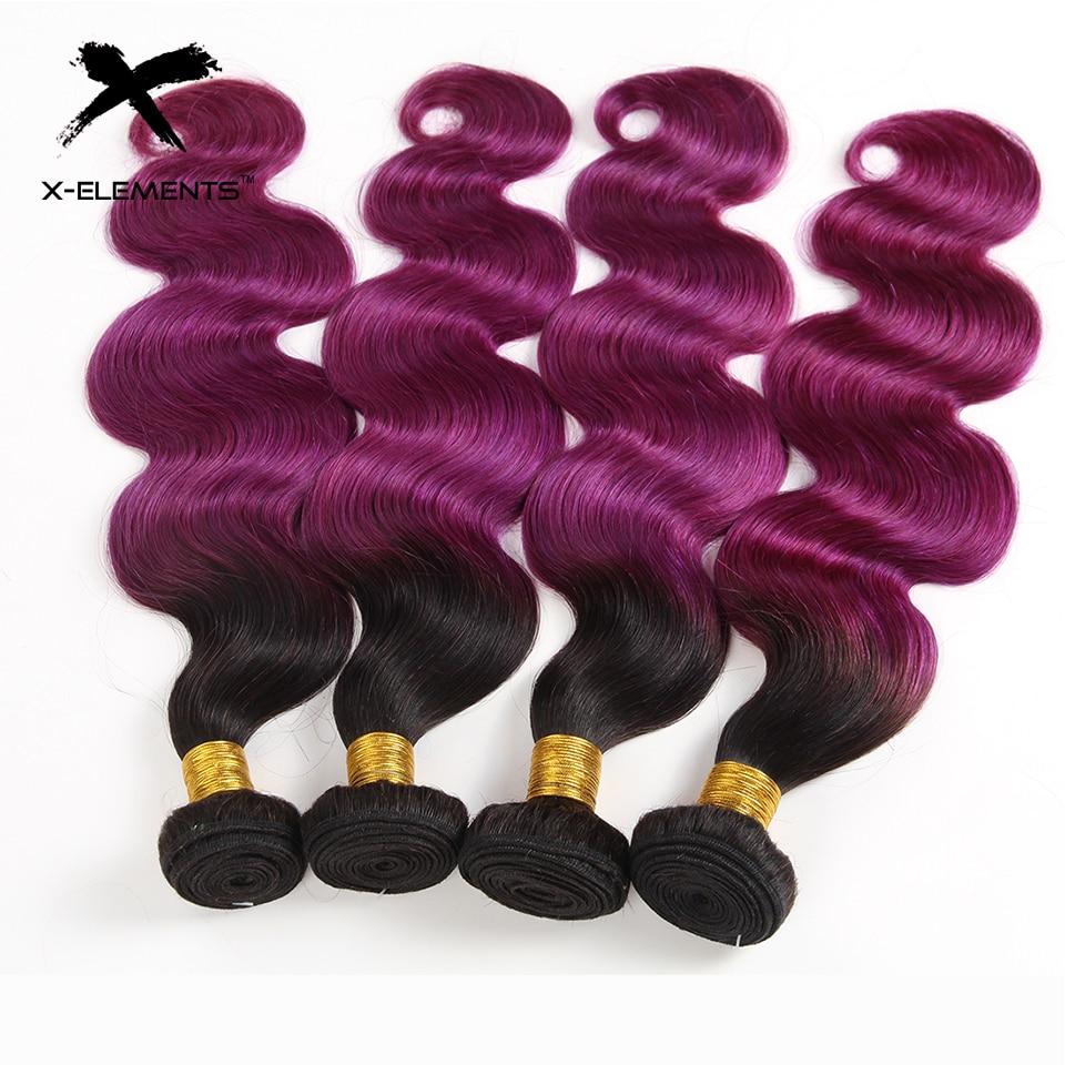 X-Elements Brazilian Ombre Body Wave Hair Bundles T1B 30 Burgundy 39J Purple Colored Human Hair Weave Non-Remy Hair Extensions (6)