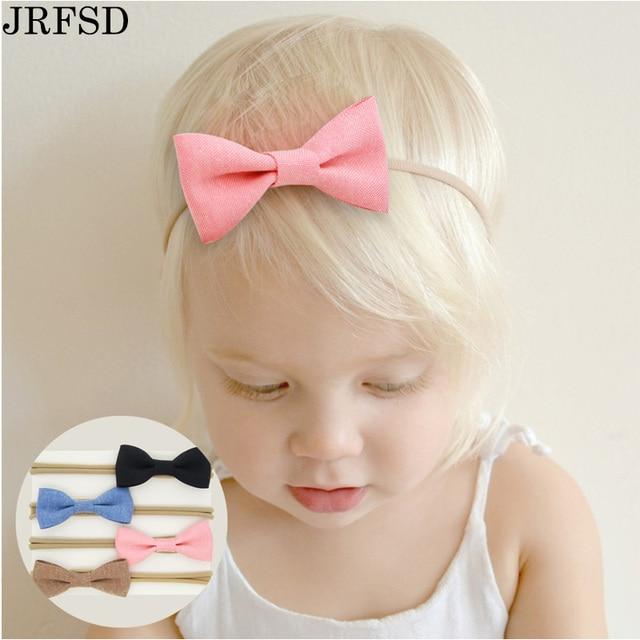 d153e34ea8a1 JRFSD 4pcs pack cute headband Solid color hair bow hair band Linen material  elastic tape hairband kids hair Accessories BB-09