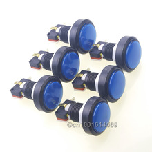 6pcs 46mm Illuminated Round Push Button Arcade LED Buttons With Microswitch For Arcade Game Machine Parts & Raspberry PI 1- Blue