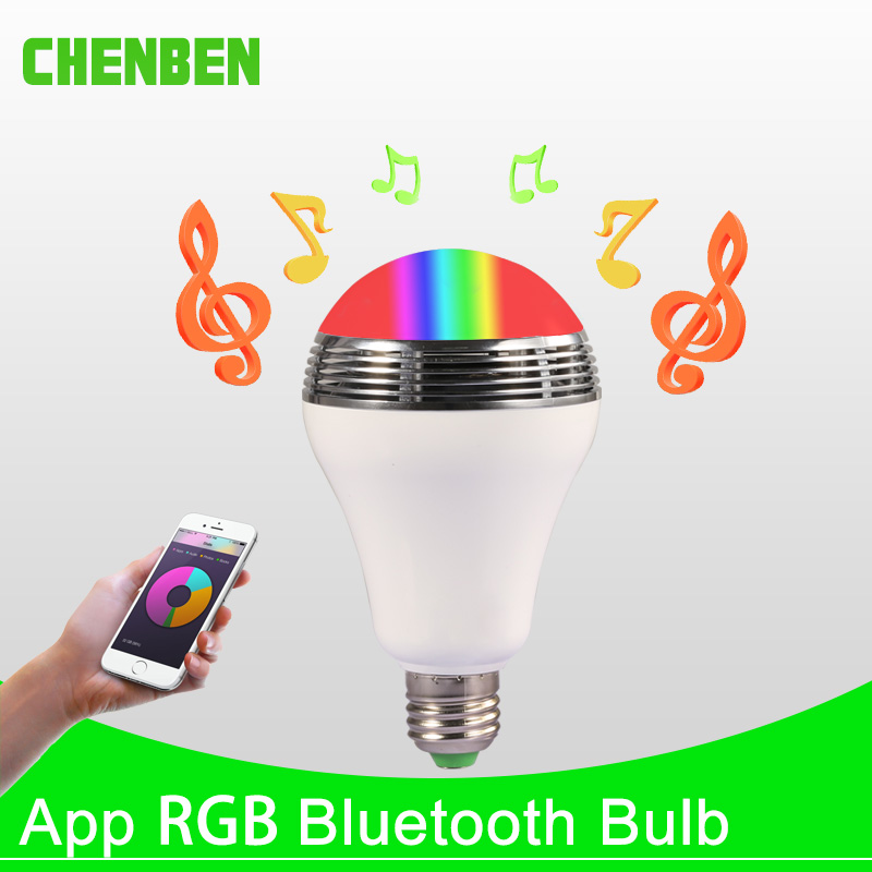 Smart LED Bulb E27 Lamp 12W RGB Bluetooth Speaker Bulbs Dimmable LED Light Timing Function WIFI APP Remote Control for Home lightme smart e27 light bulb intelligent colorful led lamp bluetooth 3 0 speaker for home stage energy saving led light bulbs