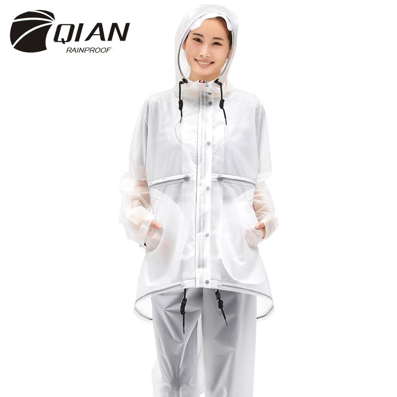 Durable EVA Cycling Raincoat for School Teens Women Men Hooded Rain Jacket