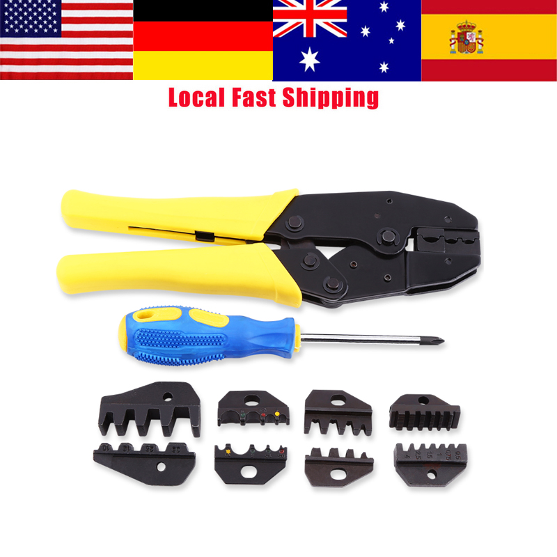 Cable Crimping Tool Car Wire Terminal Crimper Kit Stripper Cutter Ratchet Dies