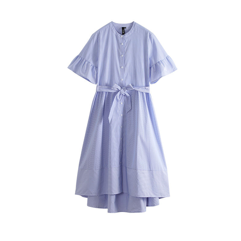 Toyouth Women Button Shirt Dress Ruffle Sleeve Pocket Stand Collar A Line Dress Casual Vacation Beach Mini Dress With Waist Belt in Dresses from Women 39 s Clothing