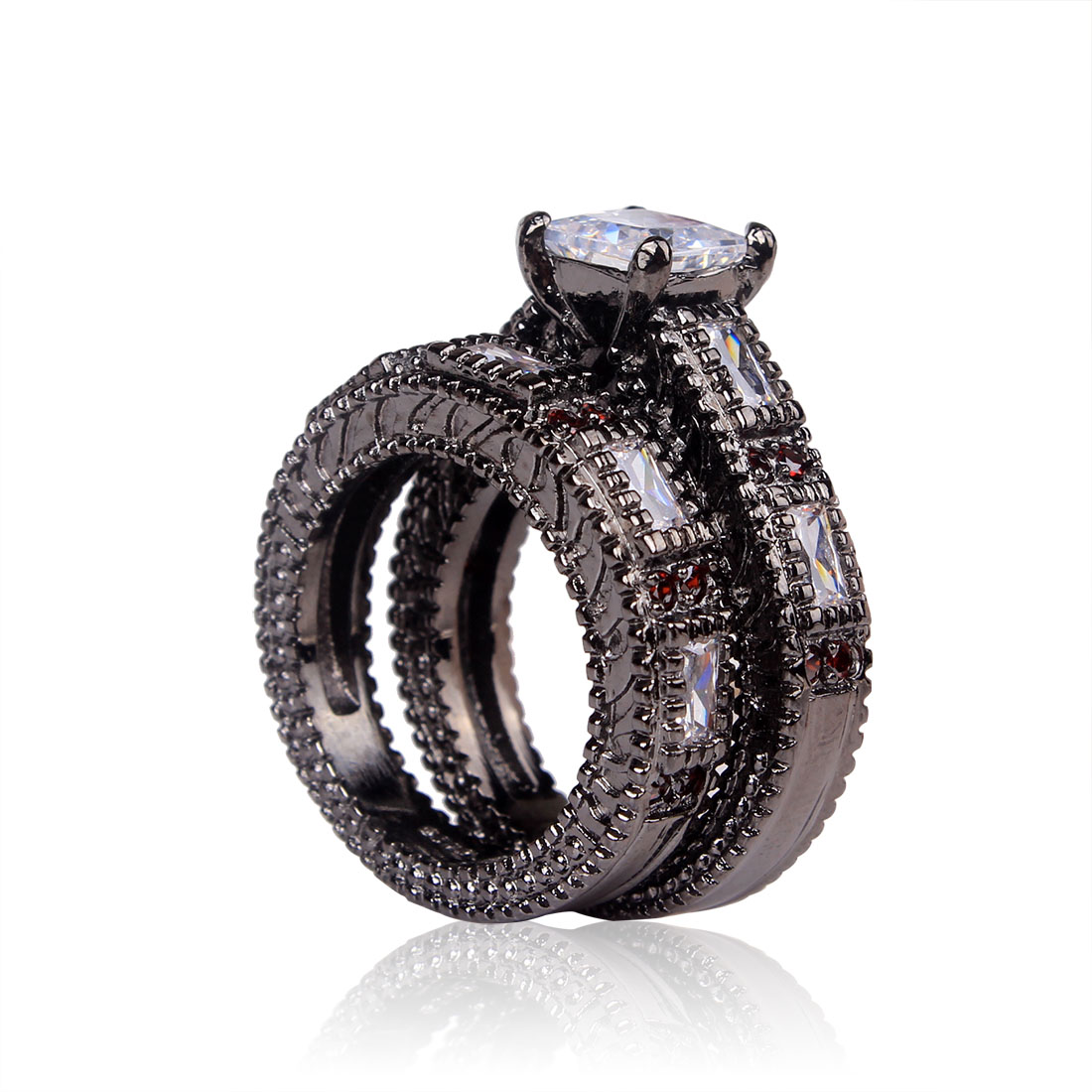 cheap black ring 2016 women wedding rings jewelry wholesale vintage jewelry gold color white red - Cheap Diamond Wedding Ring Sets
