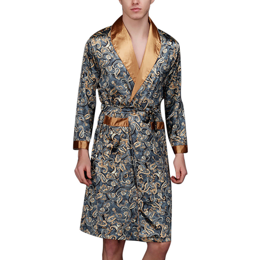 Men Bathrobe Men Simulation Silk Print Pajamas Lingerie Robe  Mens Summer Robes Male Senior Satin Sleepwear #2(China)