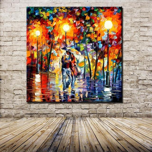 Charming Handgemalte Ölgemälde Spachtel Farbe Dick Bunte Landschaft Malerei Modernen  Haus Leinwand Wohnzimmer Dekor Kunst Bild
