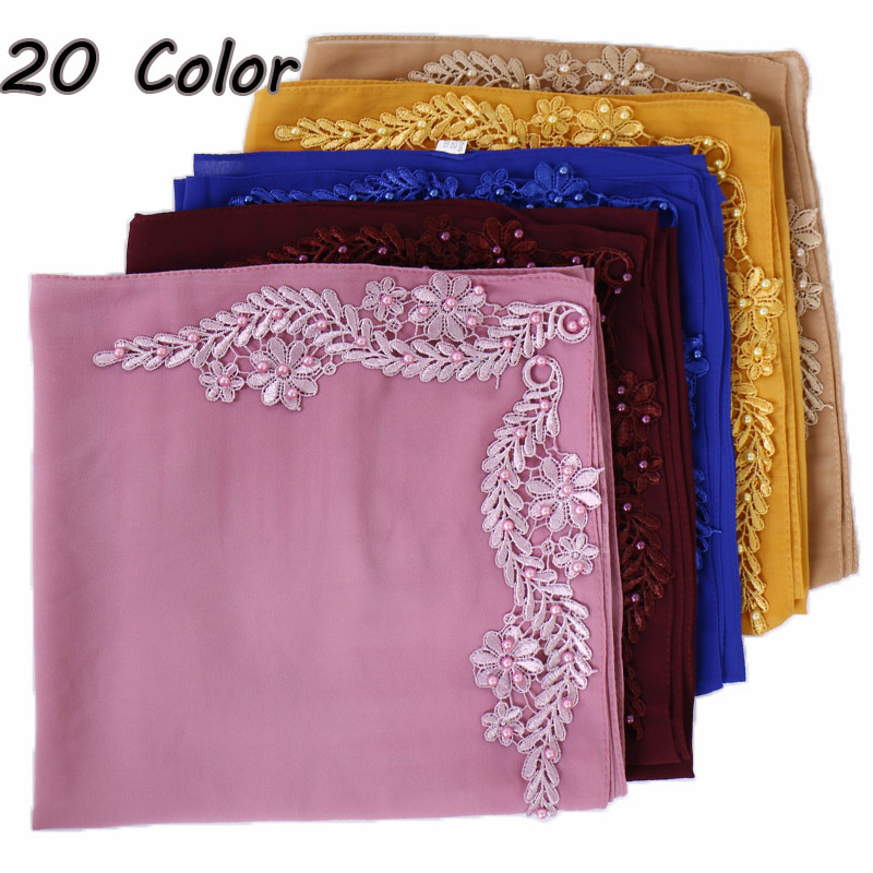 Plain Embroider Bubble Chiffon Instant Hijab   Scarf     Wrap   Beads Stitch Shawls Muslim Fashion Long Headband Islamic Sjaal 180*70Cm