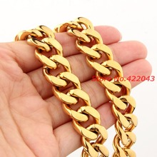 Gold color  Tone Heavy 7″-40″ 10/12/15mm Curb Cuban Chain Necklace or Bracelet 316L Stainless Steel Cool Men's Jewelry Gift