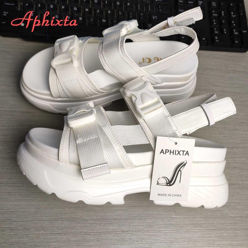 Aphixta Nền Tảng Giày Dép Phụ Nữ Nêm Gót Giày Chiều Cao Increaming Phụ Nữ Khóa Có Đế Dày Dép Bãi Biển Người Phụ Nữ Sandal
