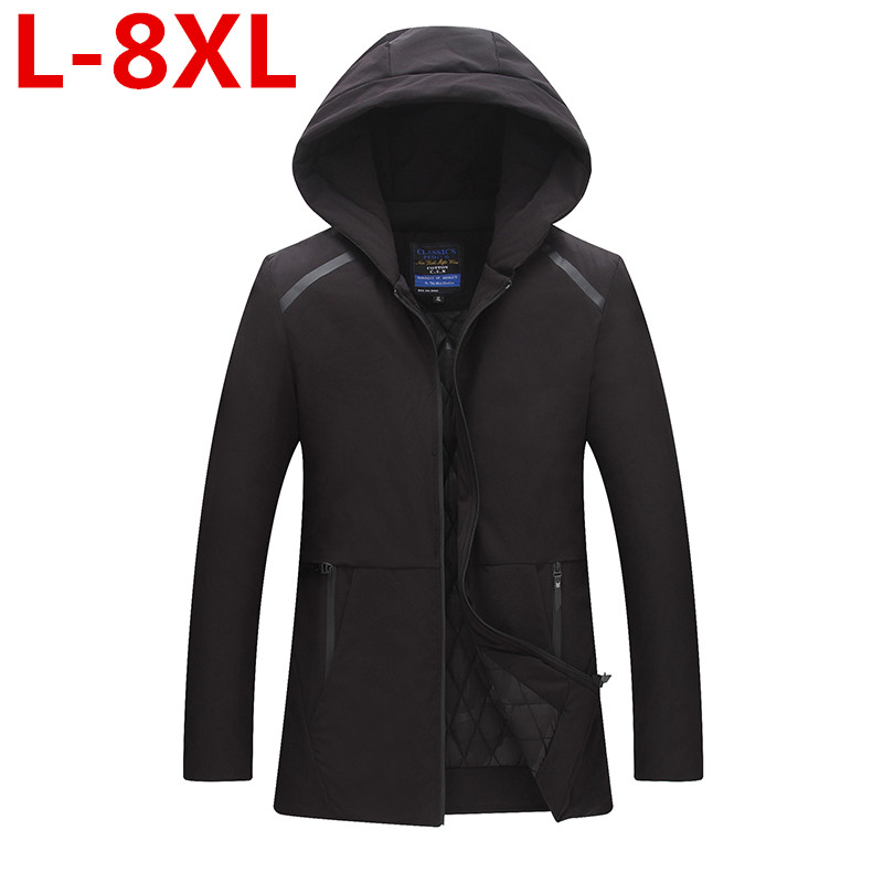 2017 new plus size 8xl  Men Winter Jacket Fashion Hooded Thermal Down Cotton Parkas Male Casual Hoodies Windbreaker Warm Coats