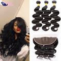 Cheap Wet and Wavy With Frontal Natural Color Raw Indian Hair Bundles With Frontal Indian Body Wavy Hair With Closure Human Hair