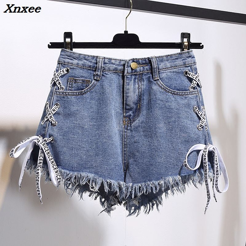 Harajuku Vintage Tassel Denim Shorts Women Lace Up Jeans Cute Hot Shorts Streetwear Casual Party Shorts Female Xnxee
