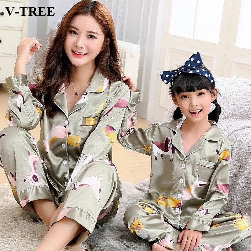 Weihnachten Pyjama Familie.Mutter Tochter Kleidung Weihnachten Pyjamas Set Silk Passenden Nachtwäsche Mädchen Familie Pyjamas Set Pyjamas Für Kinder