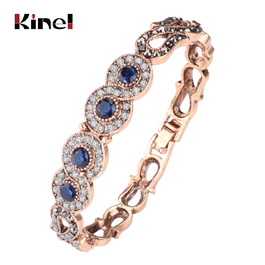 Kinel Vintage Jewelry Wholesale Blue Resin Gray Crystal Flower Bracelet For Women Antique Gold Dubai Jewelry 2017 New(China)