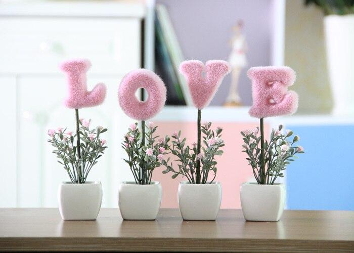 comprar mini amor artificial planta de flor casa regalo de boda de cermica maceta ornamento de ornamental pot plants fiable proveedores en