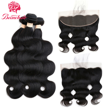 Malaysian Hair Body Wave Lace Frontal Free Part Closure With 3 Bundles Human Hair Body Wave Weave Bundles Natural Color