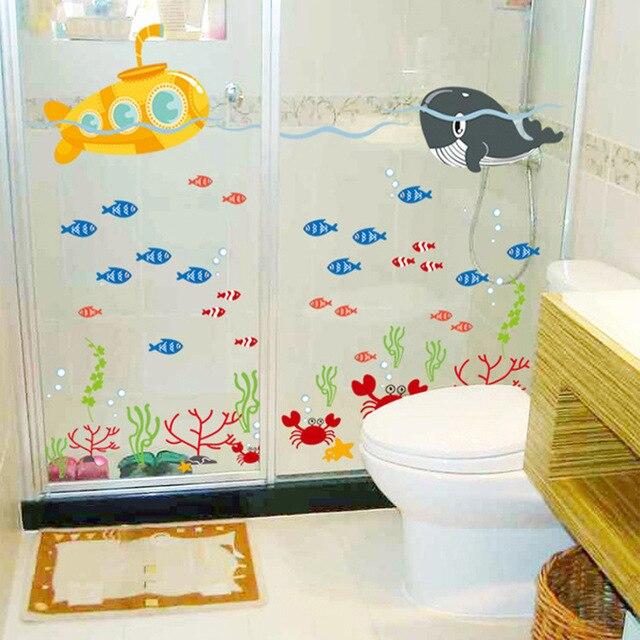 Buy ocean sea fish vinyl removable mural for Bathroom fish decor