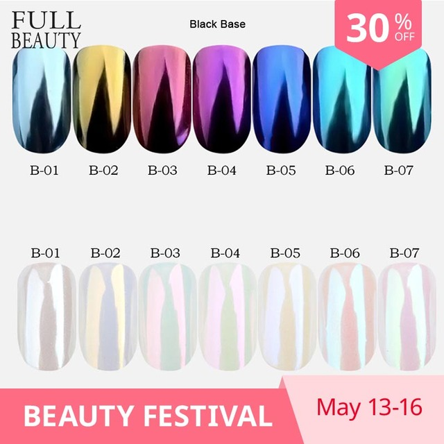 7 cajas brillante espejo brillo polvo de uñas bien lentejuelas de brillo oro púrpura DIY decoraciones de uñas pigmento herramienta CHB01-07