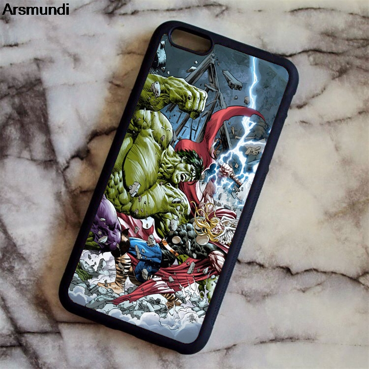 Arsmundi Hulk VS Thor The Avengers Marvel Hero Phone Cases for iPhone 5C 5S 6 6S 7 8 X for Samsung Case Soft TPU Rubber Silicone