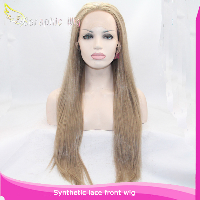 Natural Realistic Synthetic Wigs with Ash Blonde Color Gluless lace Front Wig Long Straight Hair Heat Resistant Blonde Wig
