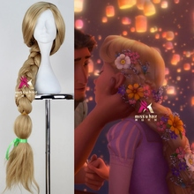 Princess Tangled Rapunzel 110cm 43.34″ Long Straight Braid Cosplay Wigs for Women Girls Anime Costume Party Synthetic Wig Blond