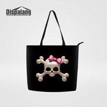 a631ab87c801 Dispalang Cool Punk Skull Printing Shopping Handbag Women Tote Bags Ladies  Top-Handle Bag Recycled Girls Canvas Bag Bolsos Mujer