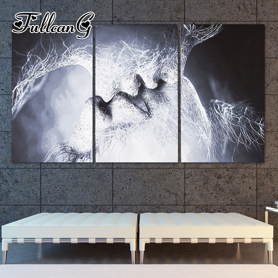 FULLCANG triptych mosaic embroidery quot couple kissing quot diy 5d diamond painting cross stitch kits full square drill 3pcs G1194 in Diamond Painting Cross Stitch from Home amp Garden