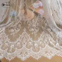 3 m/lote francês cílios tecido de renda 150cm branco preto diy requintado rendas bordado roupas casamento vestido acessórios rs702