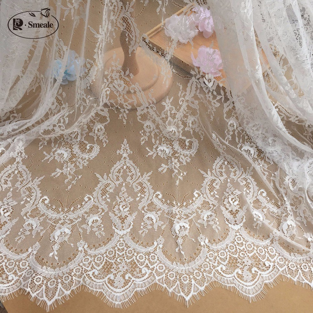 3M / Lot French Eyelash Lace Fabric 150cm White Black Diy Exquisite Lace Embroidery Clothes Wedding Dress Accessories RS702-in Lace from Home & Garden