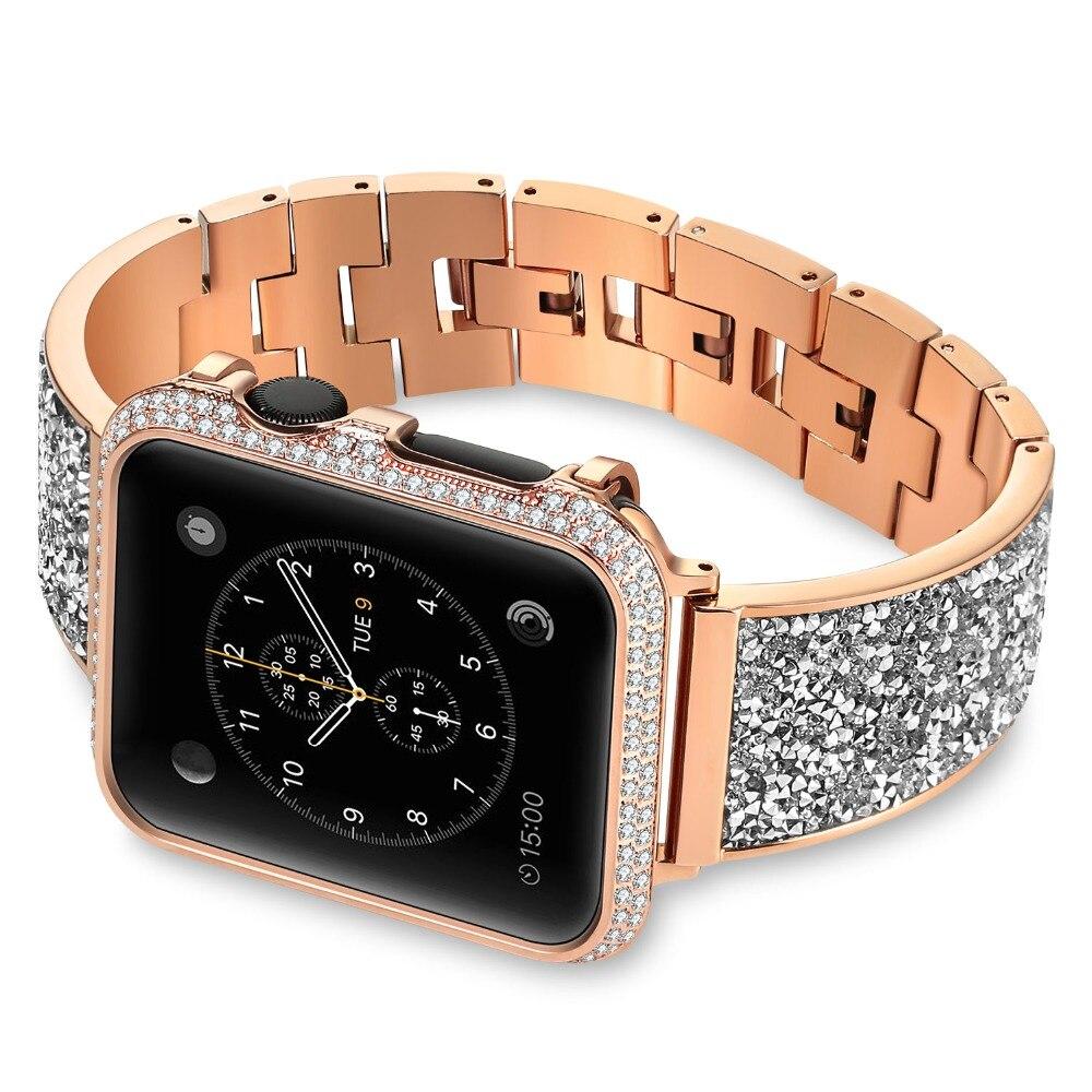 De luxe Femmes Bracelet Bracelets Or Rose Bracelet Bracelet Pour Apple Montre Bande 42mm/38mm iwatch Série 3 /2/1 hommes Sangle