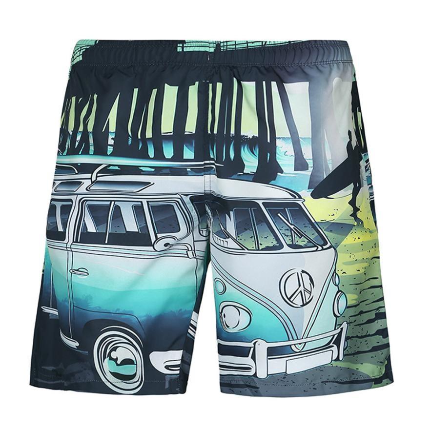 Summer Men Beach Shorts 2020 Small Bus Landscape 3D Print Fashion Men's Bermuda Boardshorts Fitness Trousers Plus Size