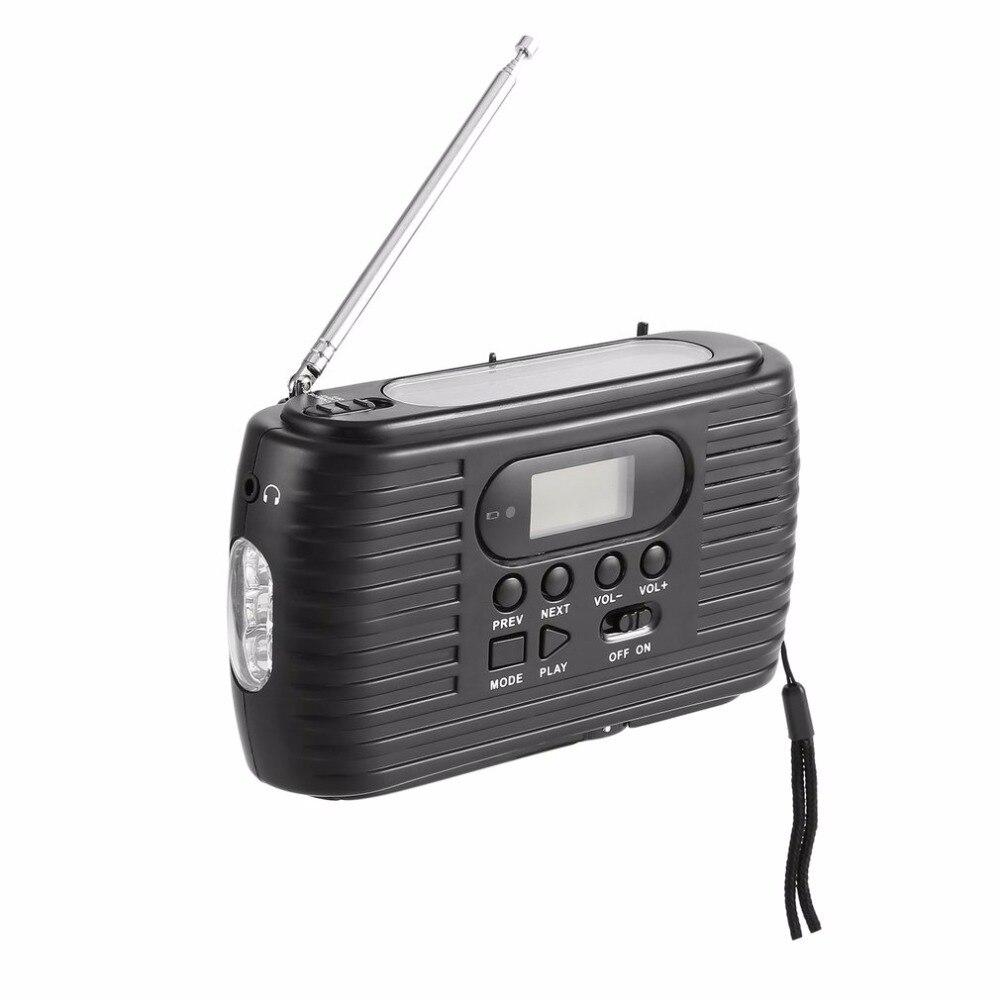 Radio de secours Dynamo/solaire avec Radio AM/FM à manivelle et lecteur de musique et lampe de poche avec 3 led