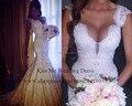 Vestido де Noiva кружева русалка свадебные платья 2015 сексуальные свадебные платья глубокий V шеи жемчуг женщины мода LH063