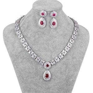 Image 3 - WEIMANJINGDIAN New Arrival luksusowy kwadratowe cyrkonie CZ kryształowy naszyjnik i kolczyki zestaw biżuterii ślubnej dla panny młodej lub druhny