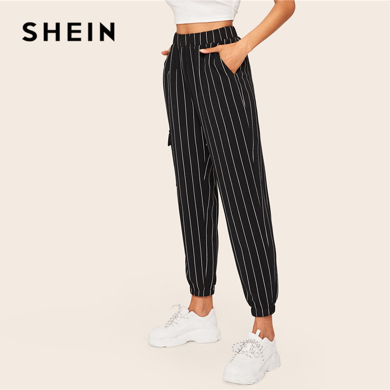 Image 3 - SHEIN Slant Pocket Vertical Striped Pants Women Spring Casual Elastic Waist Trousers Black Regular Mid Waist Streetwear Pants-in Pants & Capris from Women's Clothing