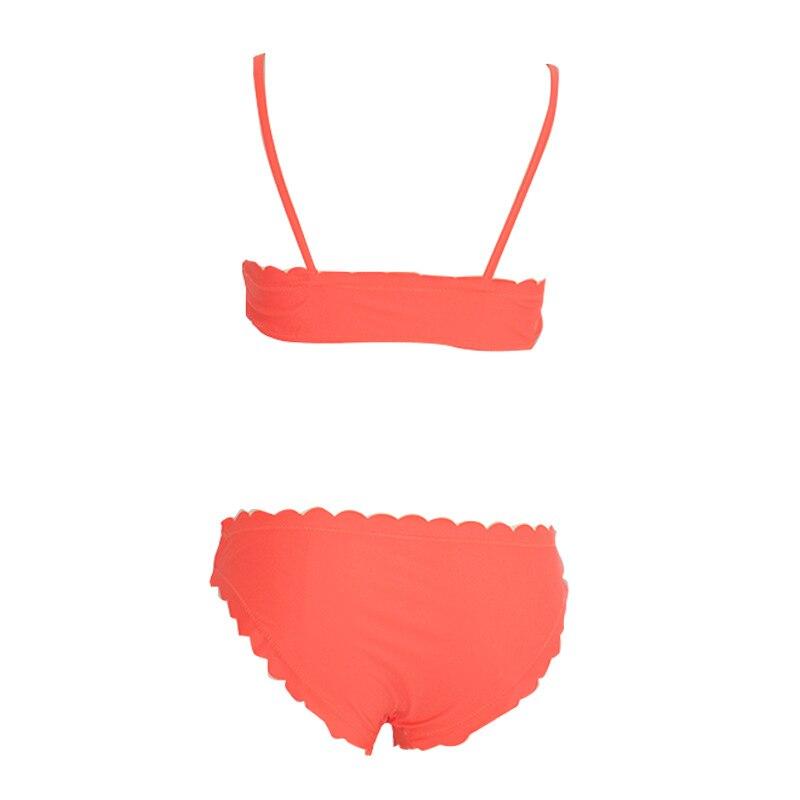 Orange Scalloped Edge Bandeau Style Bikini  4