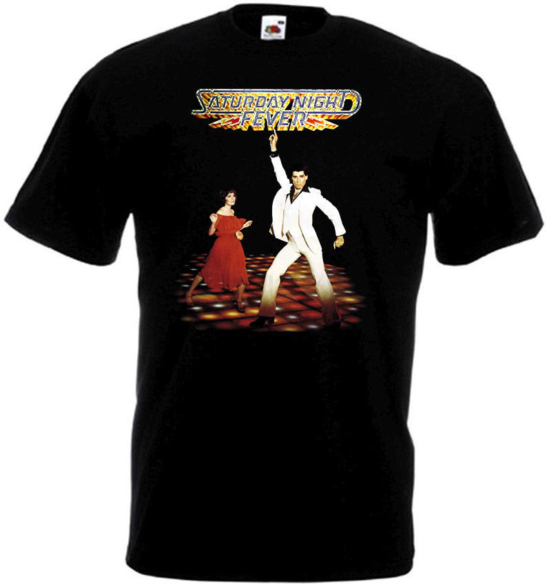 Saturday Night Fever v.2 T-shirt black Movie Poster all sizes 2018 Short Sleeve Cotton T Shirts Man Clothing