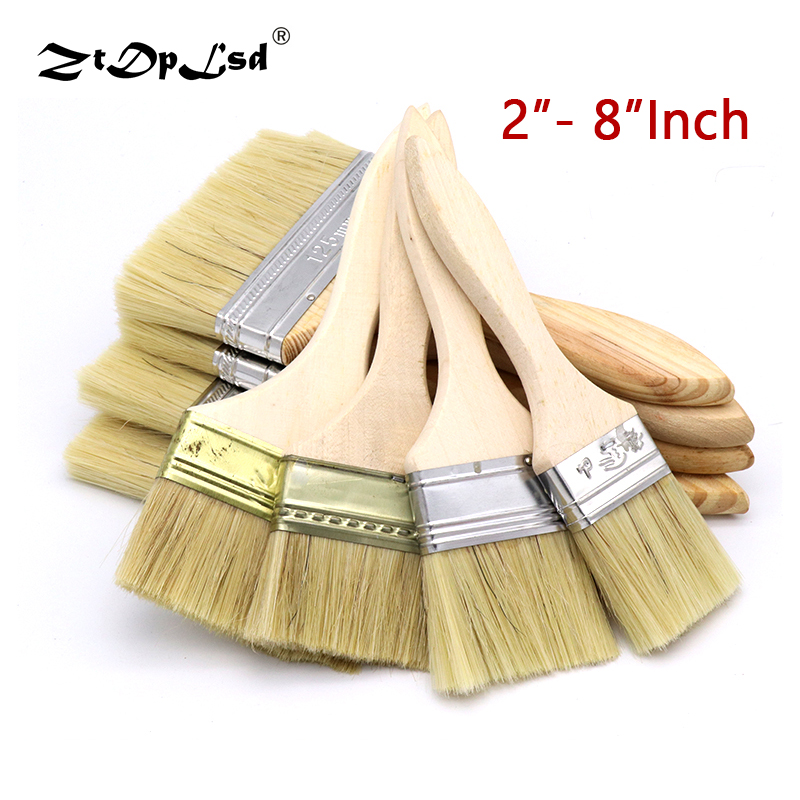 2-8 Inch Painting Brush Cleaning Oil Watercolor Powder Bristle Paint Artist Flat Hair Wood Handle Graffiti Tools Wooden Acrylic