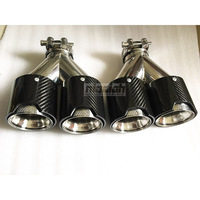 2PCS Left and Right TOP quality Car Carbon Fiber Exhaust TWIN End Tips for BMW 2.5'' in, 3.5'' out M performance Dual Pipes