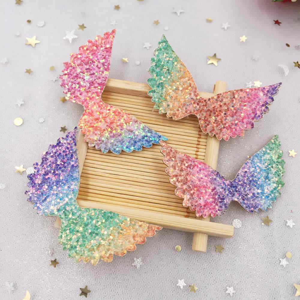 10pcs Felt Fabric Paillette Rainbow Color Glitter angel wing Appliques  wedding DIY Sewing Patchs craft hair e1a0f6285ddf