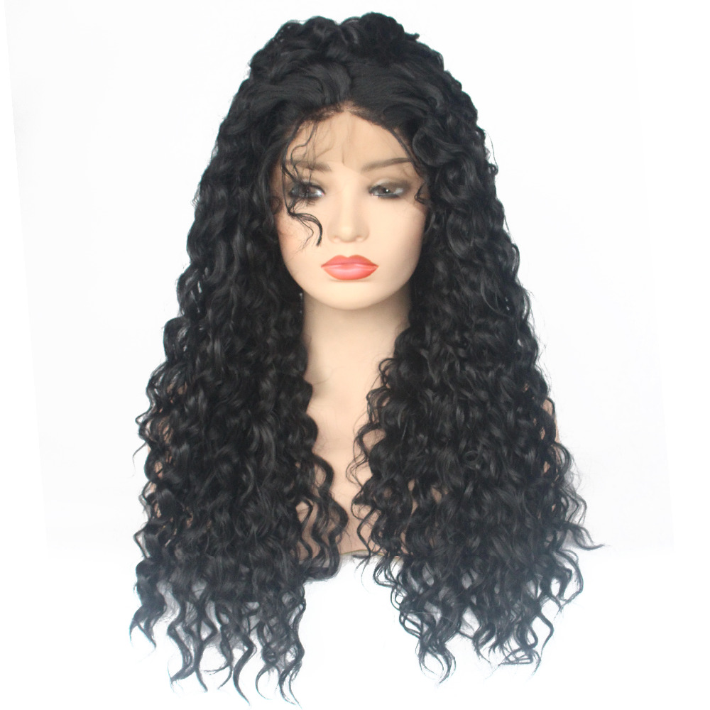 V'NICE Heavy Density Brown Synthetic Lace Wigs with Baby Hair Long Loose Kinky Curly Synthetic Lace Front Wigs for Black Women