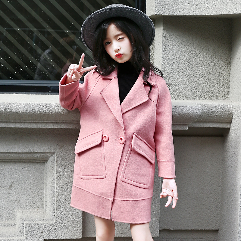 все цены на Fashion Girls Wool Winter Coats Double breasted Children's Trench Jackets  Thick Warm Velvet Girl Coats Outwear Kids Clothing онлайн
