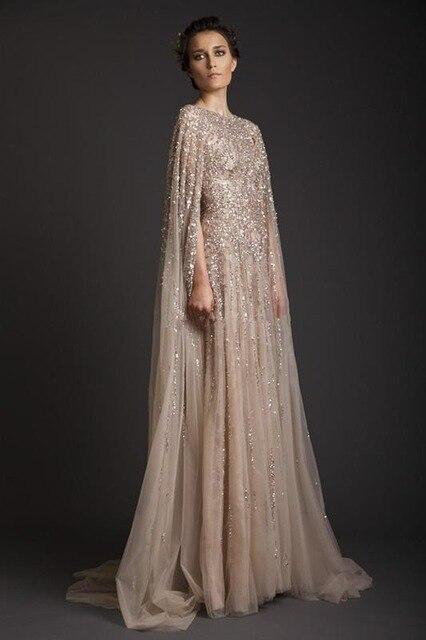 Pas cher Or Sequin Musulman De Soirée Dubaï Robe Caftan Marocain Robes De  Soirée Avec Cape robes largos para bodas robe dans Robes De Soirée de  Mariages et