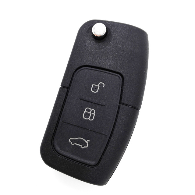Hkcysea 3 On Replacement Flip Folding Remote Key Fob Case For Ford Focus Fiesta C Max