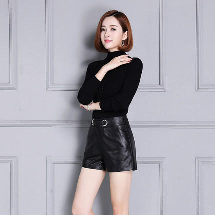 2019 New Autumin and Winter Sheepskin High Waist Slim Leather Shorts K41