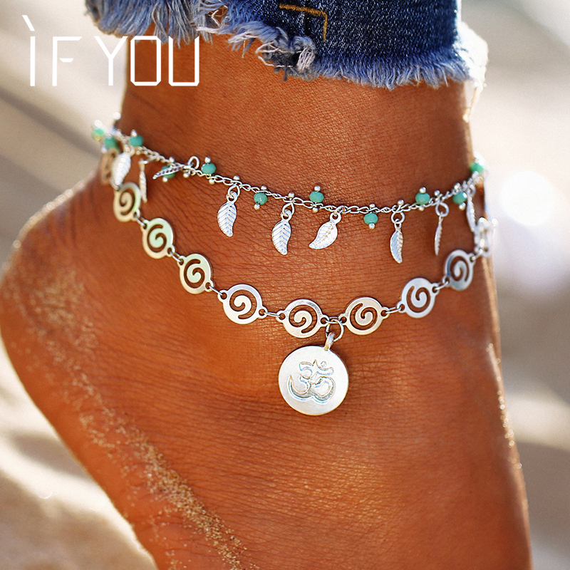 IF YOU New Design Leaf Flower Multilayer Anklet Vintage Spiral Style Round Pendant Anklet For Women Charm Chain Foot Jewelry