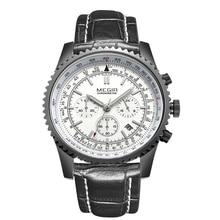 Los hombres de lujo Reloj de Los Hombres Del Deporte Del Cronógrafo Reloj de Los Hombres de Cuero Genuino Reloj de pulsera de Cuarzo relogio masculino