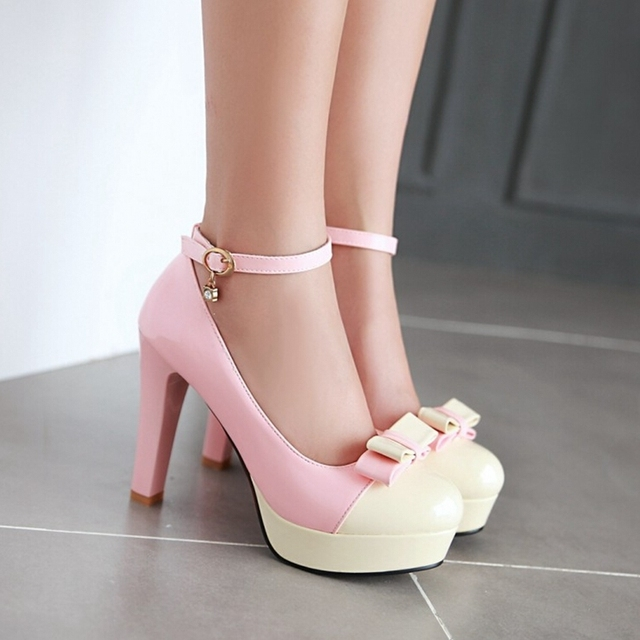 2016 new spring and autumn Korean sweet lady word buckle straps bow high-heeled 34-43 large code shoes color princess shoes