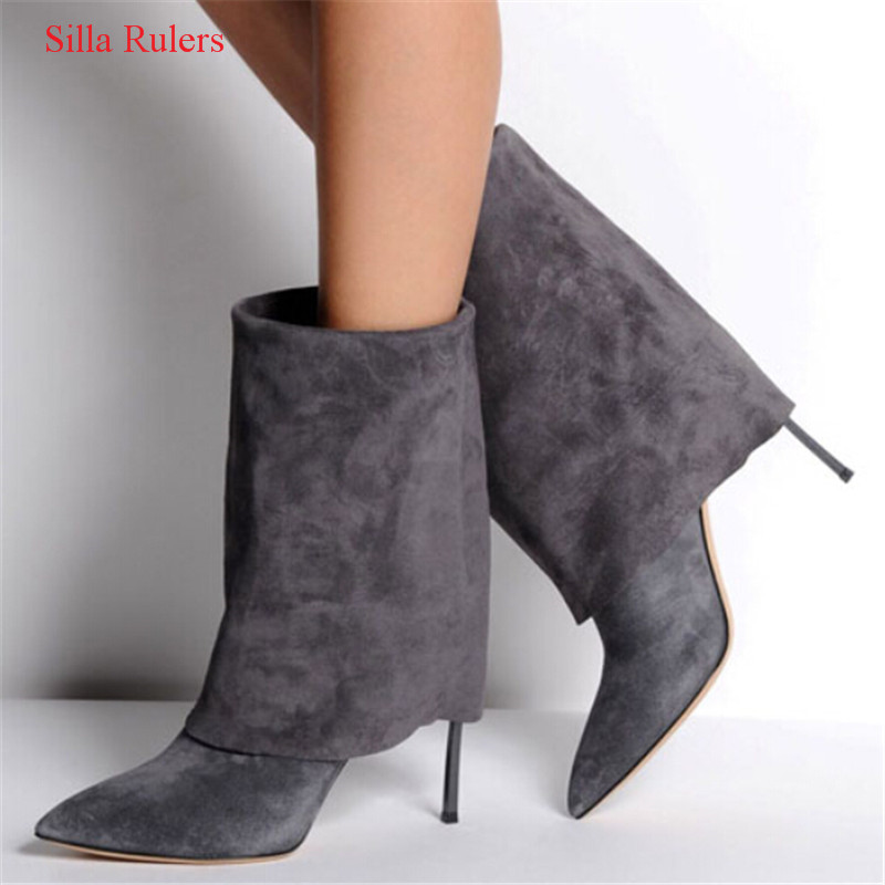 Fashion Spring Autumn Black Grey Suede Women Boots Turned-over High Heels Ankle Boots Shoes Woman Pumps Pointed Toe Botas Mujer enmayla autumn winter chelsea ankle boots for women faux suede square toe high heels shoes woman chunky heels boots khaki black