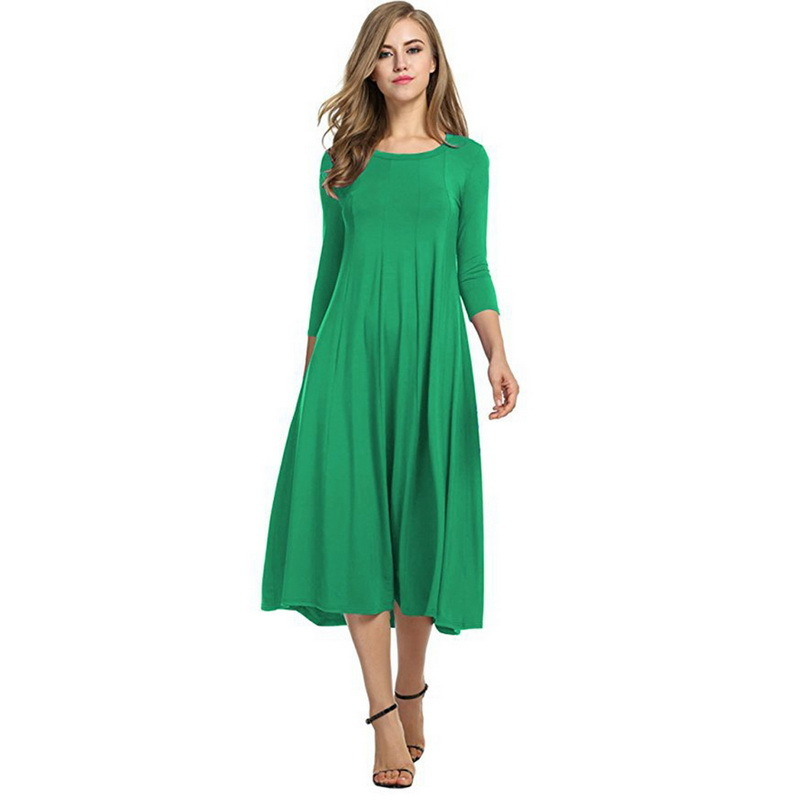 c53f6d90e3a 2018 Pleated Long Dress For Women Summer Autumn Plus Size Party Club  Fashion Lady Dresses Casual Female Cotton Red Girls Dress -in Dresses from  Women s ...